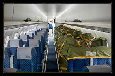 Here is how they get international mail to St. Pierre et Miquelon - up and down one side of an Air St. Pierre flight from Halifax, taking up all but the front four rows of an eleven row ATR turboprop. The front galley was jammed full too, leaving room for 21 passengers among 44 seats