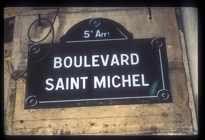 Street sign, Boulevard St. Michel, Paris, France.