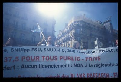 Strikers at a manifestation (demonstration), Paris, France.