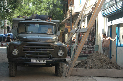 Construction crew workin' overtime, Tbilisi, Republic of Georgia.