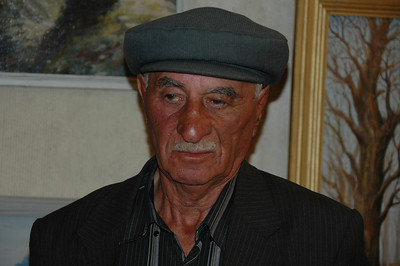 Artist, carver of bone and horns at an exhibition in Kazbegi town, Republic of Georgia.