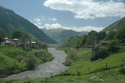 Bridge over Terek (Tergi) River, Kazbegi town, Republic of Georgia.