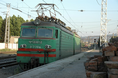 Train at Tbilisi station, Republic of Georgia.