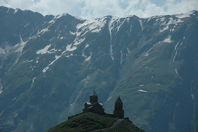 14th century Trinity Church (Tsminda Sameba) near Mt. Kazbegi, Caucasus mountains, Republic of Georgia.
