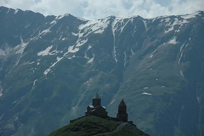 14th century Trinity Church (Tsminda Sameba) near Mt. Kazbegi, Caucasus mountains, Republic of Georgia.