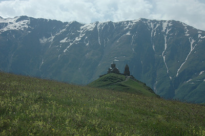 14th century Trinity Church (Tsminda Sameba) near Mt. Kazbek, Caucasus mountains, Republic of Georgia.