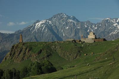 Georgian Orthodox church and lookout, high Caucasus mountains along the Georgia Military Highway, Republic of Georgia.