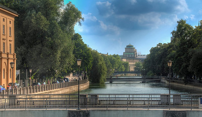 HDR: Isar River from the Maximilian Bridge, Munich, Germany.