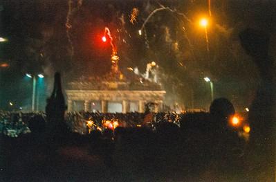 The Berlin Wall and Brandenburg Gate at midnight 31 December, 1990.