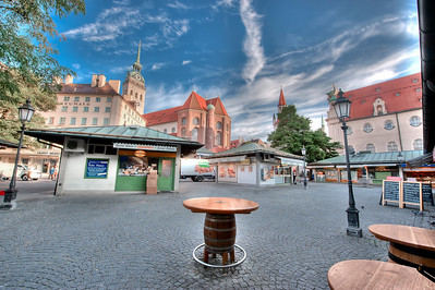 HDR: Early morning at the Viktualienmarkt, Munich, Germany.