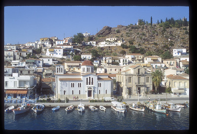 Greek Island harbor.