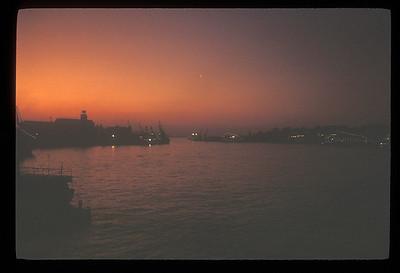 Piraeus, Greece harbor at twilight.
