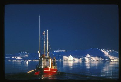 Midnight cruise on Disko Bay, Greenland.