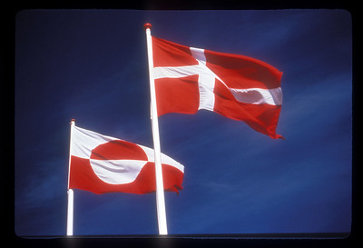 Danish and Greenlandic flags at Nuuk, Greenland.
