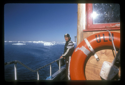 Tour boat on Disko Bay, Greenland.