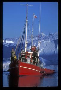 Tour boat on Disko Bay, Greenland.