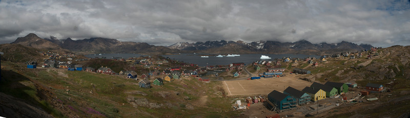 Multi frame panorama of Tasiilaq, east Greenland.