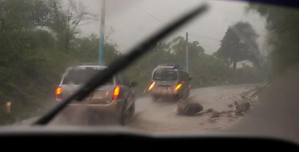 Rockslides during tropical storm Agatha, Guatemala, May, 2010.