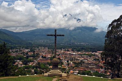 Antigua, Guatemala and Volcan de Agua as viewed from Cerro de la Cruz.