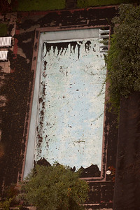 Volcanic ash in swimming pool after eruption of Volcan Pacaya, Guatemala City, Guatemala, May 2010.