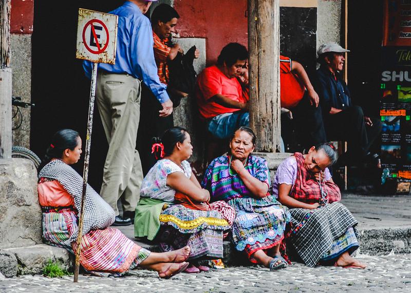Guatemalan Women Talking by Roadside