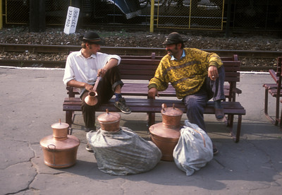 Roma traders at Hungarian train station.