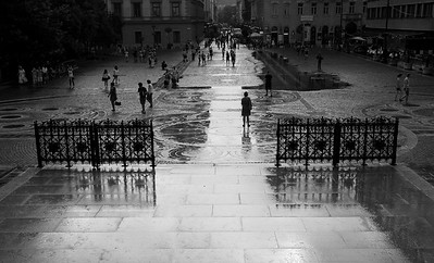 Wet square in Budapest
