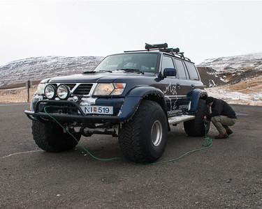Agnar's car comes with its own air compressor.