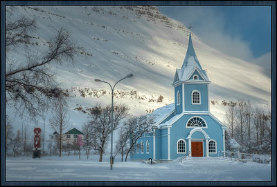 Blue Lutheran Church at Seydisfjördur, Iceland