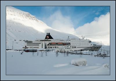 MS Norröna in Port at Seydisfjordur, Iceland
