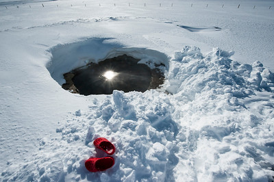 Thermally heated swimming hole up on Vatnajokull, Iceland.
