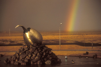 Sculpture and rainbow, Keflavik airport, Iceland.