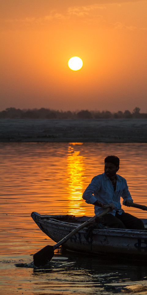Sunrise on the Ganges River With Boatman, Varanasi, India