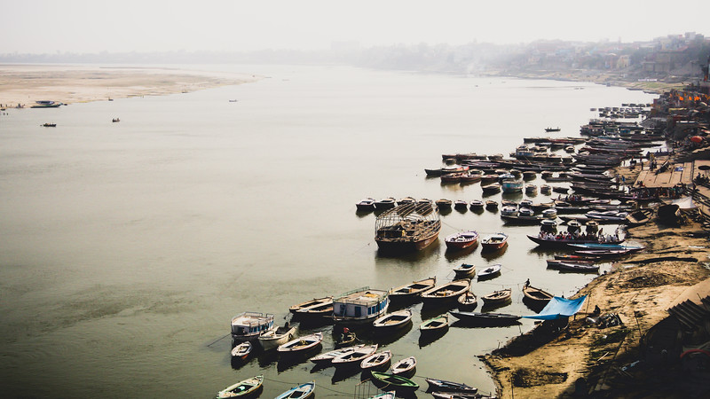 Boats Rest on the Ganges
