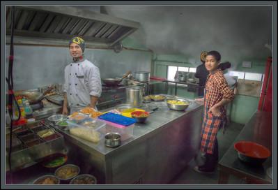 Kitchen at the Ropeway, Gangtok, Sikkim, India.