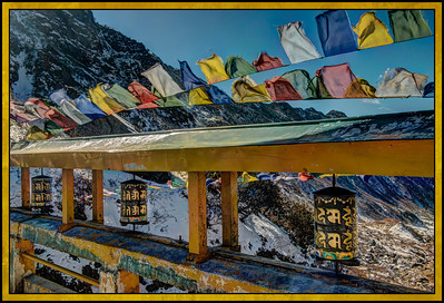 Prayer Wheels and Prayer Flags at Changu (Tsomgo) Lake, Sikkim, India.