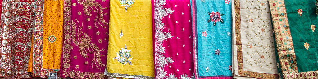 Colourful saris at market - India