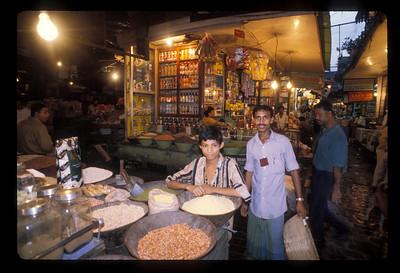 Market scene near Oberoi Hotel, Calcutta, India.
