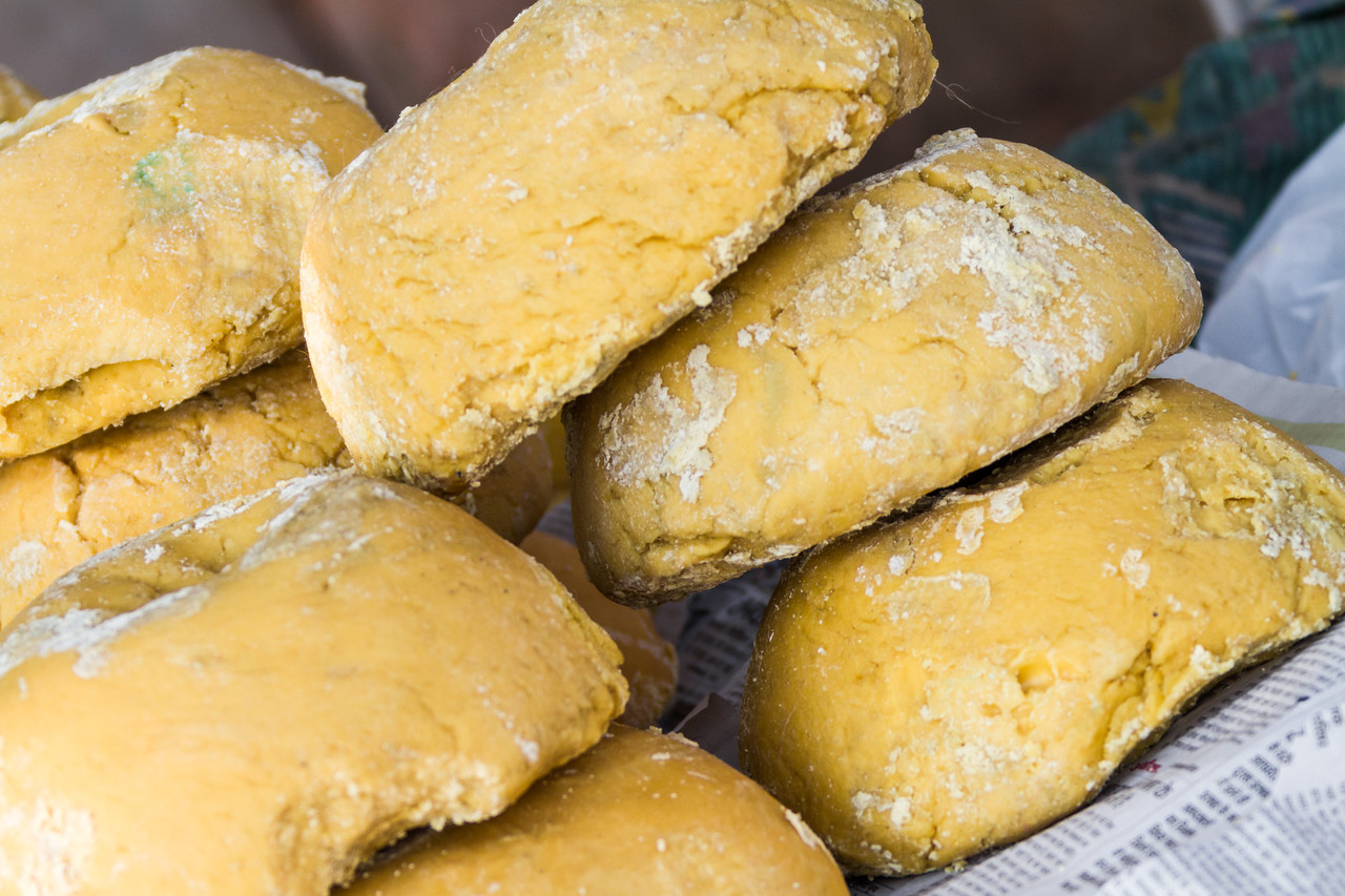 Close-up of jaggery in market - India