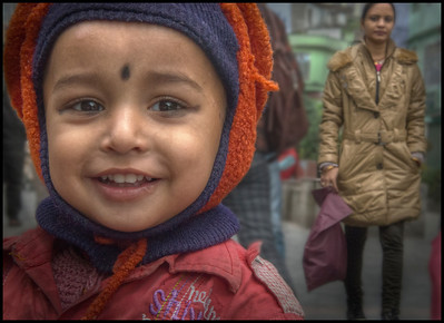 Child on the M G Marg, Gangtok, Sikkim, India.