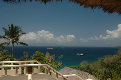 View from terrace, Amankila Resort, Bali, Indonesia.