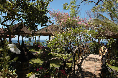 Restaurant garden, north coast of Bali, Indonesia.