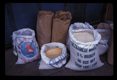 Rice and grain bags, Bintan Island, Indonesia.