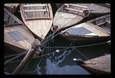 Small boats moored on Bintan Island, Indonesia.