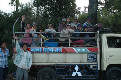 Truck o' boys outside Denpasar, Bali, Indonesia.