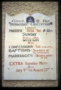 Sign on Catholic church, Lahinch, County Clare, Ireland.