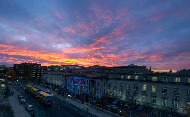 November sunset over the National Concert Hall, Dublin, Ireland.