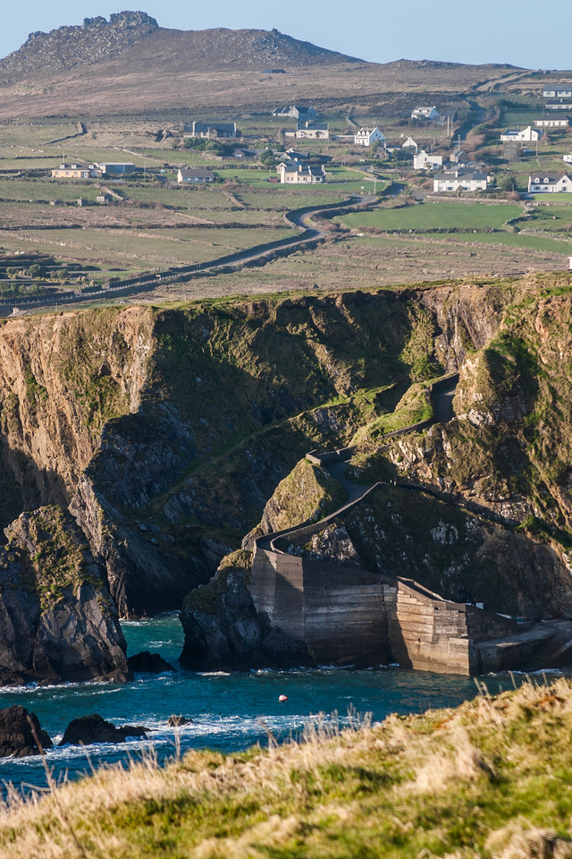 View of village and cliff with sea - Ireland
