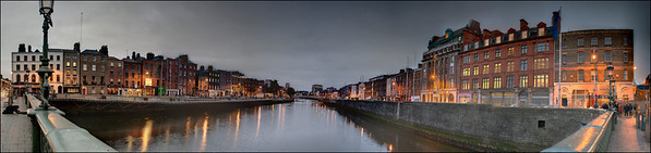 Panorama, the Liffey River at Dublin, Ireland.