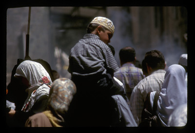 Crowd after Friday prayers, old city of Jerusalem.